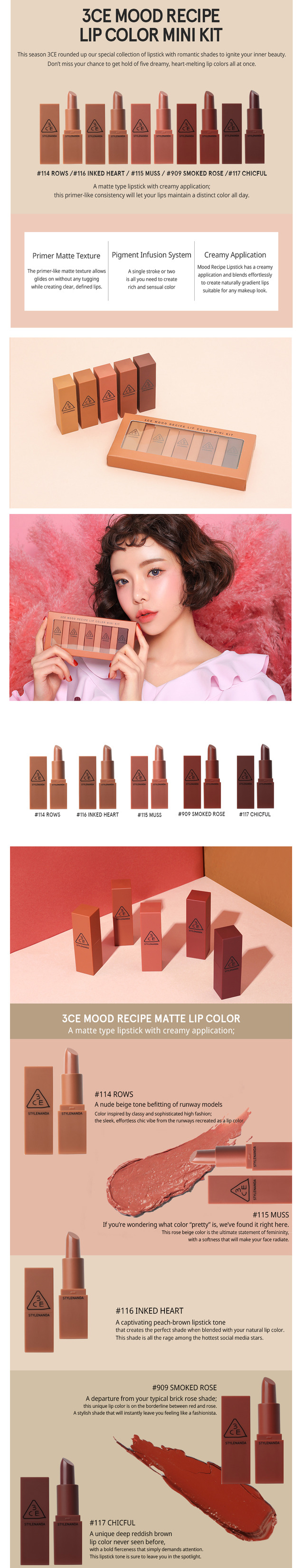 3ce Mood Recipe Lip Color Mini Kit Kokofash Lipstick 13g Each